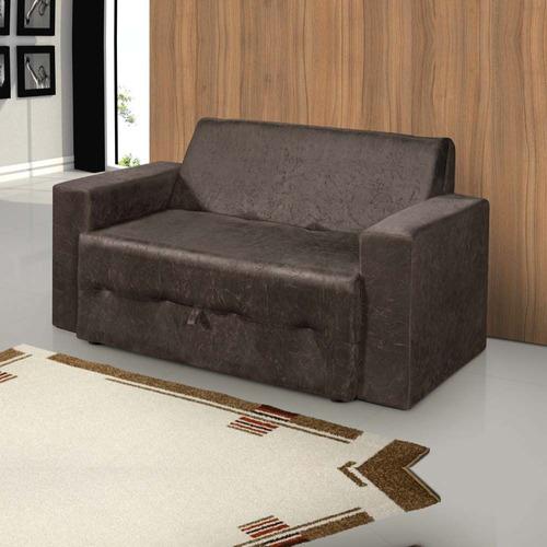 Sofá-cama Pratik 5000 Mamflex Marrom Suede Amassado Original