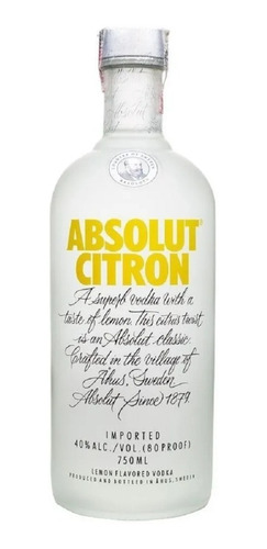 Vodka Absolut Citron  1 Litro - Importada Original
