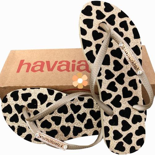 Chinelo Havaianas Personalizado. Coração Dourado. Oferta! Original