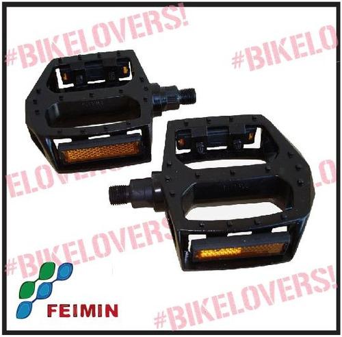 Pedal Plataforma 9/16 Em Nylon Preto Com Refletores Original