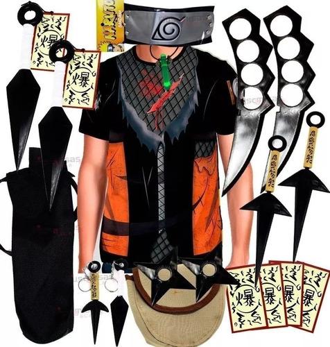Kit Kunai Naruto Ninja Camisa Naruto Shippuden Kurama K75 Original