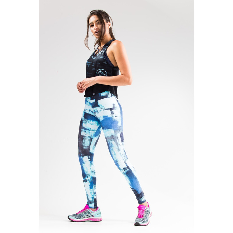 Legging Estampada Light Manchado Azul/Turquesa