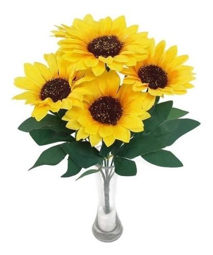 3 Buquês Girassol Artificial Com 7 Flores Original
