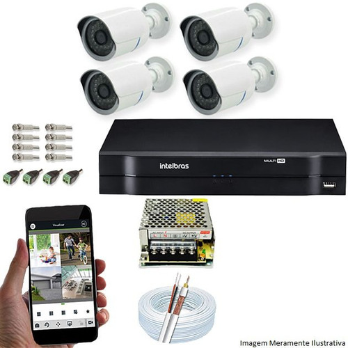 Kit Monitoramento Residencial 4 Câmeras 720p Hd Acessórios