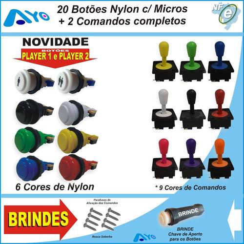 Kit 20 Botões Arcade Nylon C/ Micros + 2 Comandos Completos Original