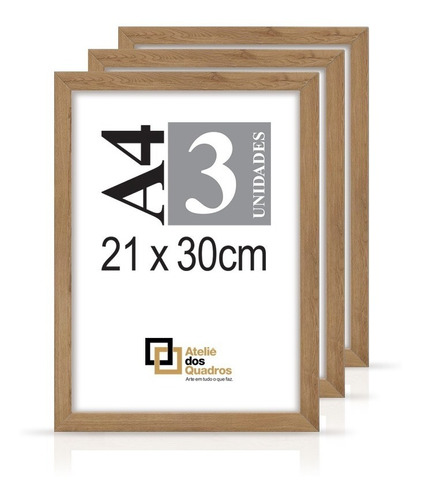 Quadro Moldura A4 21x30 C Vidro Poster Certificado Foto Kit3 Original