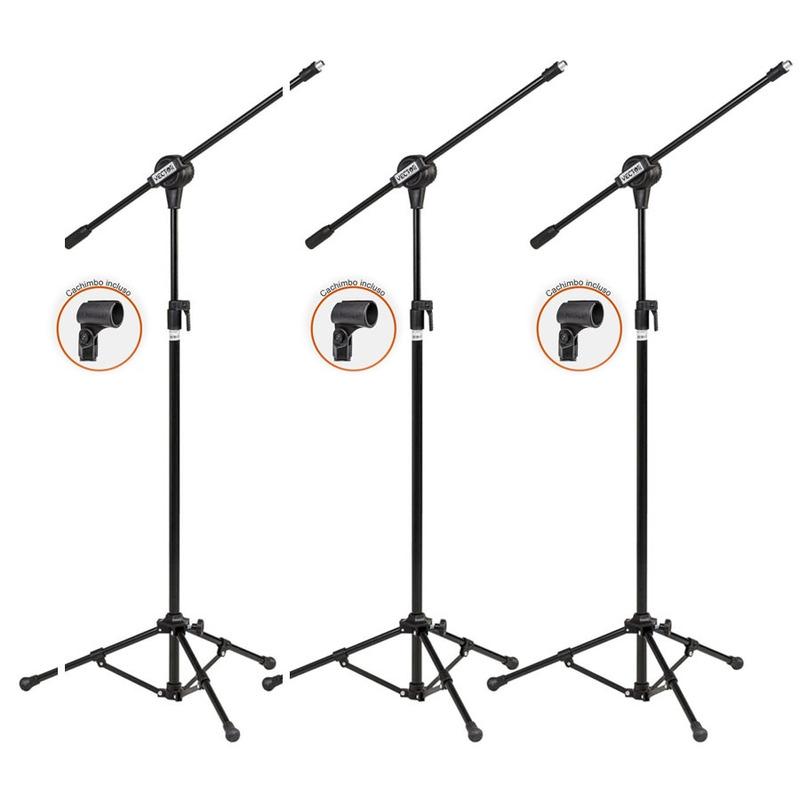 Kit Com 03 Pedestais Para Microfone Acompanhado De Cachimbo