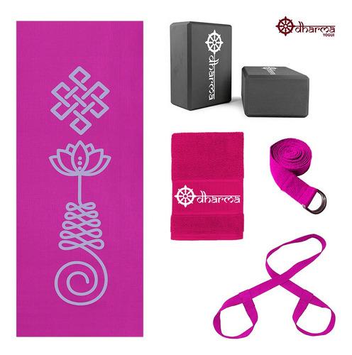 Kit Yoga Completo Rosa Unalome+alça+cinto+2 Blocos+toalhinha