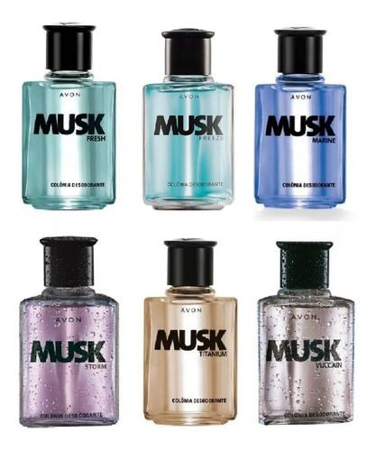 6 Colônia Musk Avon Masculina Sortidas Original
