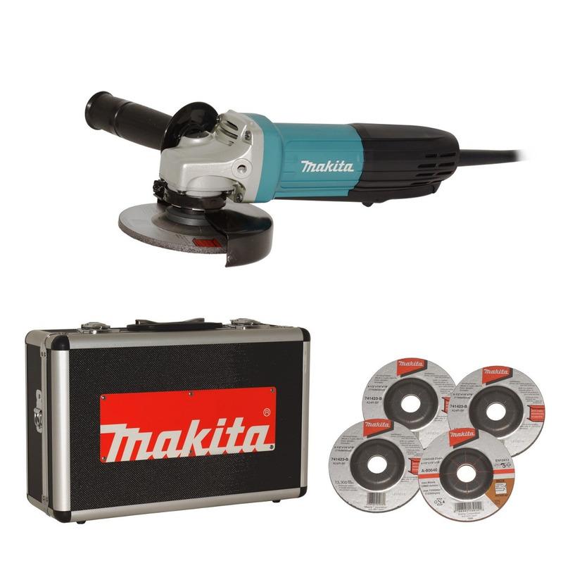 Esmerilhadeira Angular Makita 115mm c/ Maleta de Alumínio