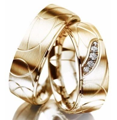 Par Alianças Ouro 18k 16 Gramas Modelo Anatômica 5 Diamantes Original