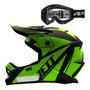 Capacete Infantil Jett P/ Trilha Motocross Óculos Proteção