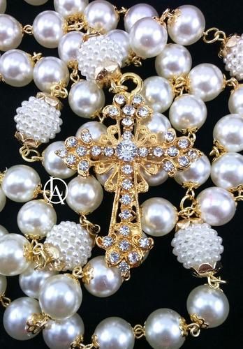Terço De Noiva Casamento Pérola Dourado Strass Luxo