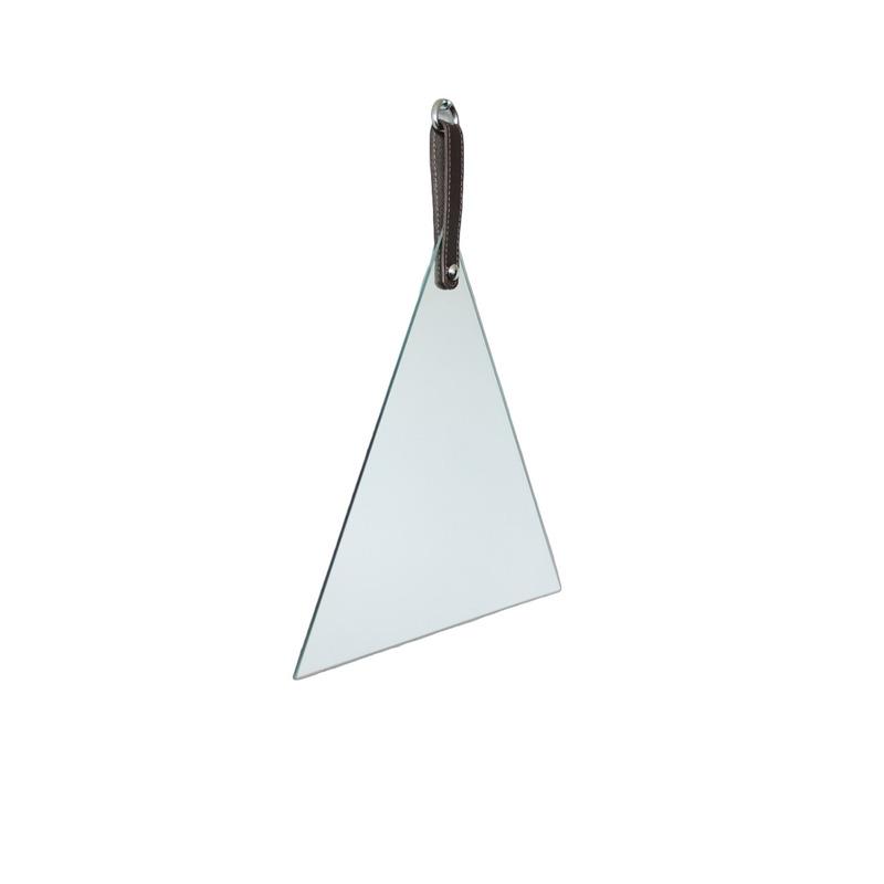 Espelho Geometric Oruy com Alça em Couro Legítimo Triangular 35cm