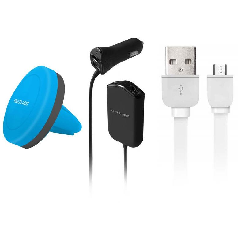 Kit Suporte Magnético e Carregador Automotivo com 4 Portas USB e Cabo USB 5 Pinos Multilaser Azul