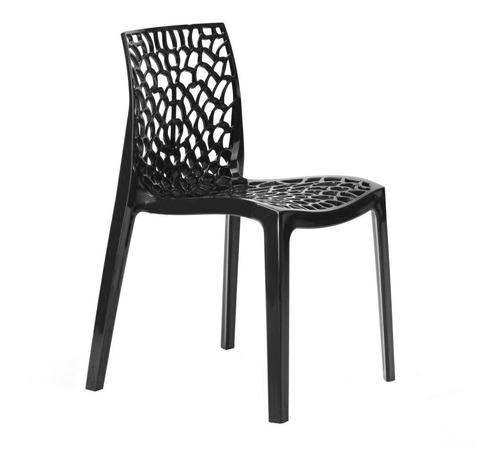 Cadeira  Gruvyer Cozinha Jantar Alto Brilho Higlopp Preto Original