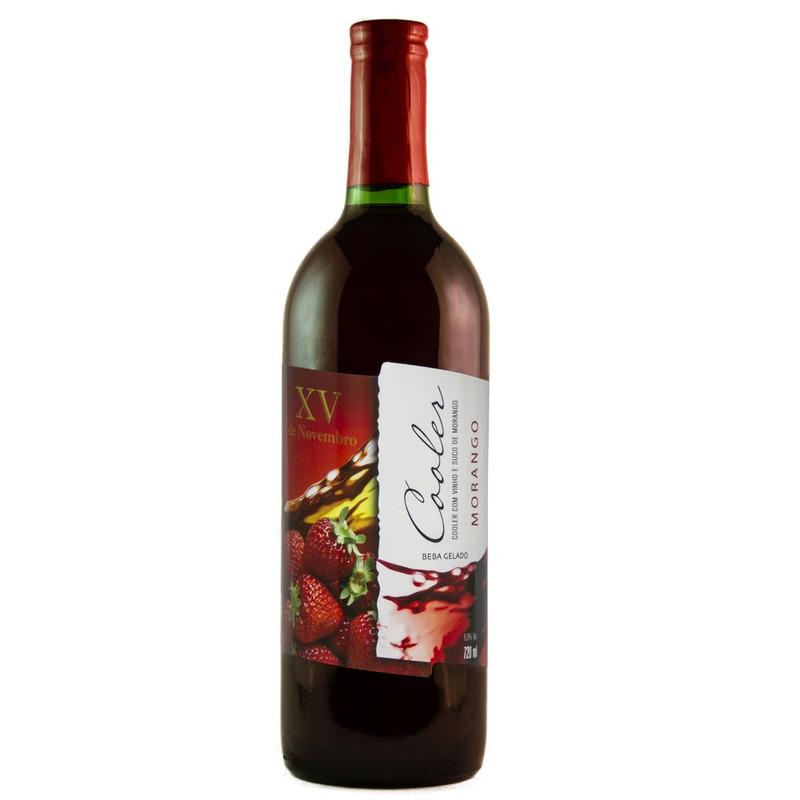 Cooler de Vinho Branco com Suco de Morango 720ml - XV de Novembro