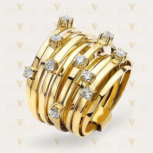 Anel De Ouro Modelo Trançado Com 10 Diamantes An006