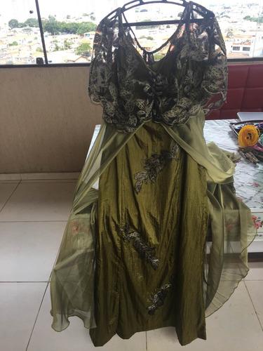Vestido Festa Verde Musgo 1vez Tam 44  Queima De Estoque Original