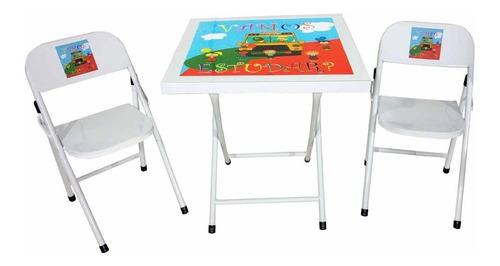 Conjunto Mesa De Ferro Infantil Dobrável Com 2 Cadeiras Original