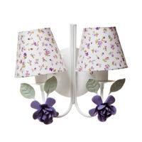 Arandela 2 Lampadas Flores Grandes Lilas