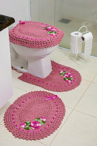 Tapete Em Croche Para Banheiro Jogo Com 3pç Bordado Original