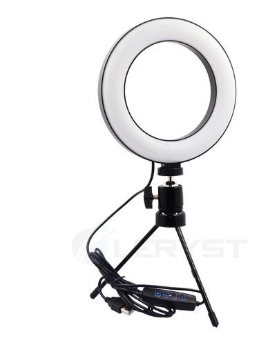 Ring Light Iluminador De Led C/ Tripe Usb 16cm Videos E Foto Original
