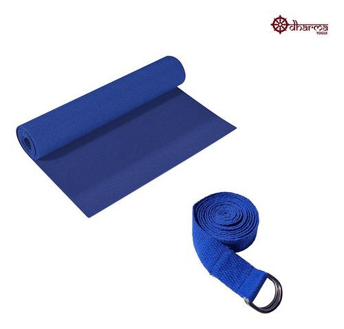 Tapete Pilates Azul Céu Com Cinto De Alongamento De Brinde