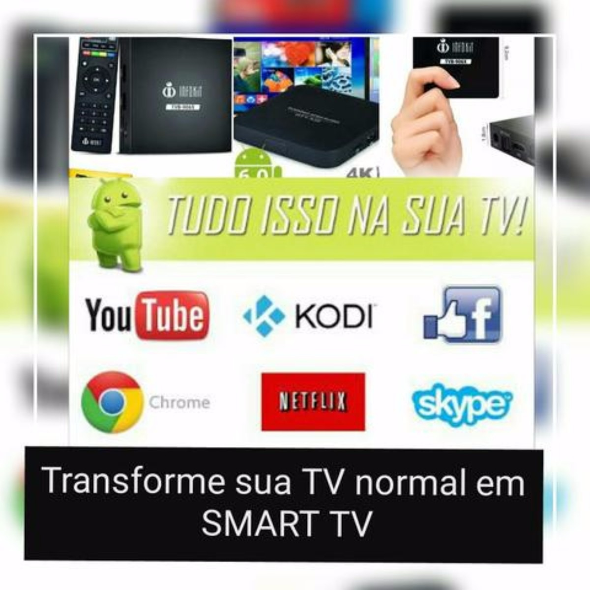 Tv Box Quad Android 6.0 Google Netflix (TVB906X ou MXQ4K)
