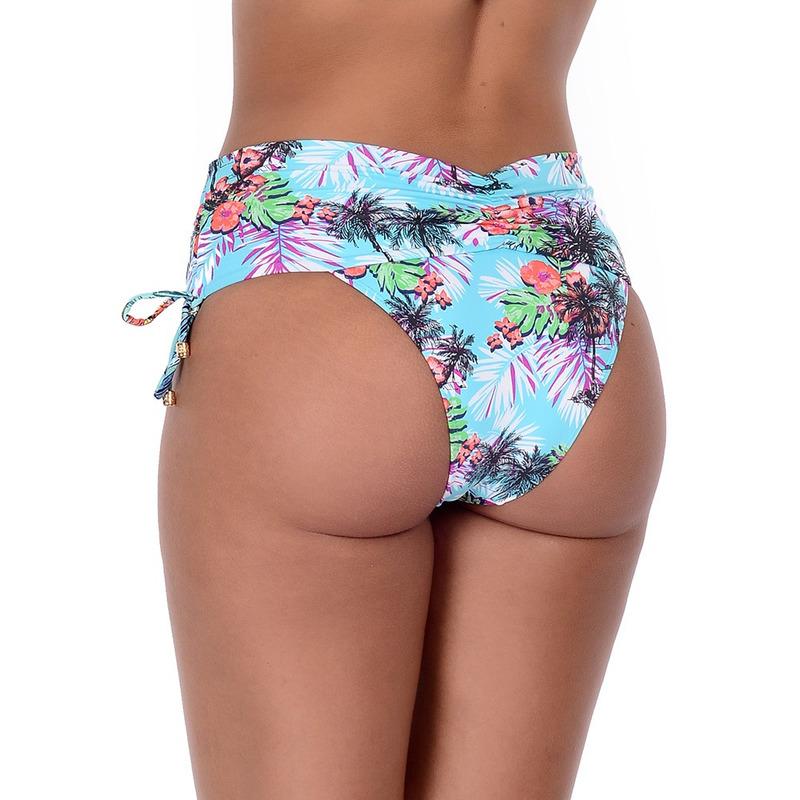 Calcinha Summer Soul Cós Alto Com Franzido e Amarração Caribe Azul