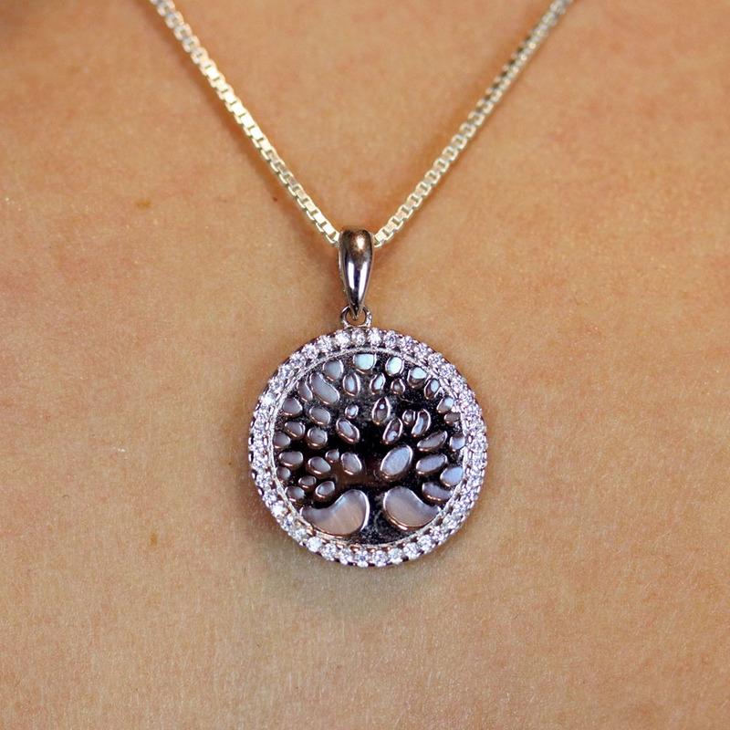 Pingente Prata 925 árvore e madre pérola - PG00003
