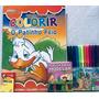 Livro De Colorir Patinho Feio kit Canetinha massa De Modelar