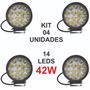Kit 4x Farol De Milha 14 Leds 42w 12v/24v Redondo Off road