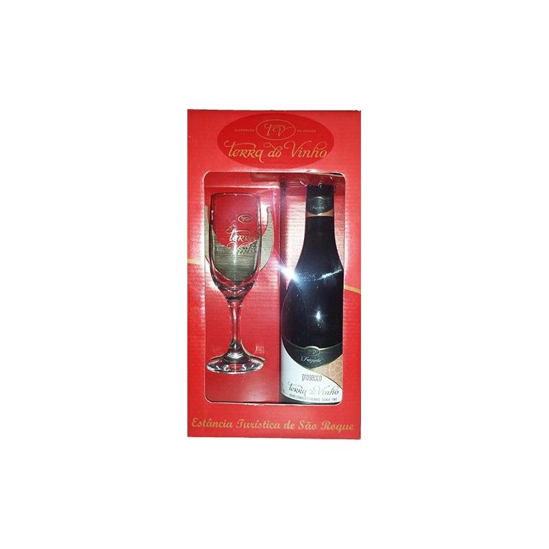 Kit com 1 taça + 1 Vinho Prosecco Frisante - Adega Terra do Vinho