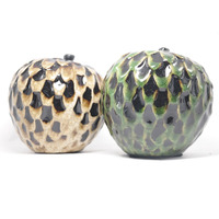 Pinhas em cerâmica para decoração - Verde e Ocre