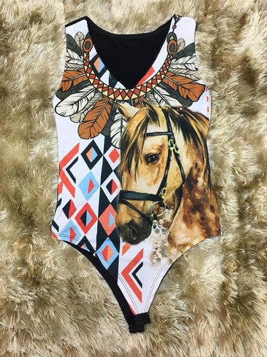 Comprar Body Bore Feminino Adulto Country Cavalo Penas Oferta ... 5a397749899