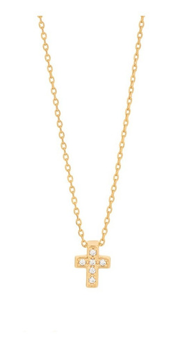 Colar Rommanel Folheado Ouro Berloque Mini Cruz Pedras C/ Nf Original