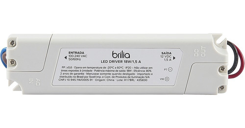 Brilia - Driver Led 18w 1,5a Bivolt Ip20 - 435830 Original