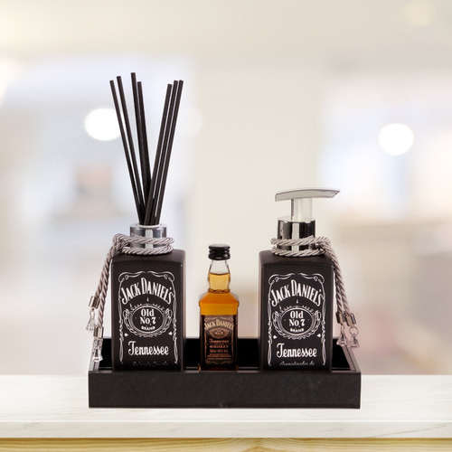 Kit Lavabo Jack Daniel's Preto Saboneteira Difusor Banheiro Original