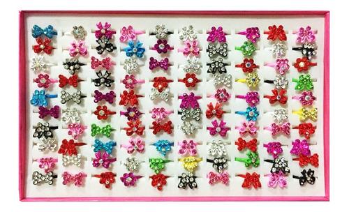 100 Anel Laço Flor Borboleta Colorida Infantil Atacado Original