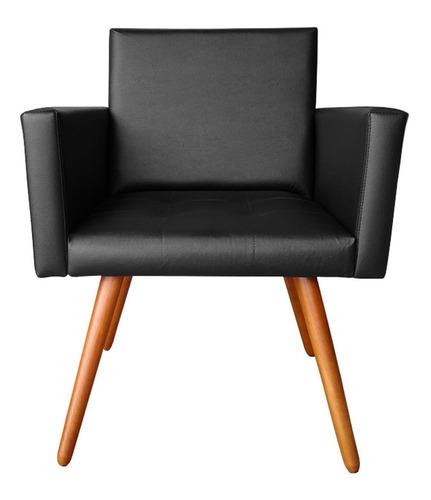 Poltrona Cadeira Vitória Courino Preto Para Consultório Sala Recpção Original