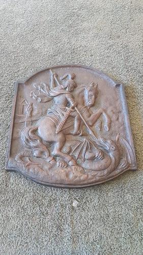 Antiga Placa Bronze Representando São Jorge Ótima Fundição Original