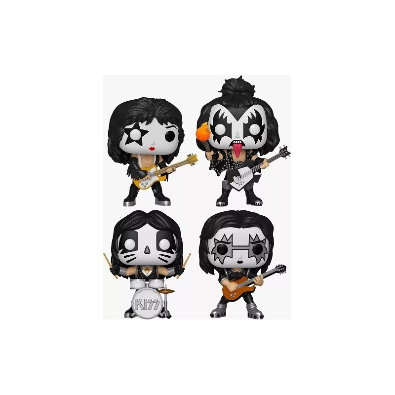 Funko Pop Banda Kiss Completa - Gene Simmons, Paul Stanley, Ace Frehley e Peter Criss - Rocks