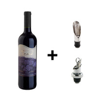 Kit Vinho Tinto Bordô 720ml + 2 Tampas Corta Gotas Metal - Frank