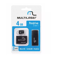 Cartão de Memória 4GB com Adaptador para Pen Drive e SD - MC057