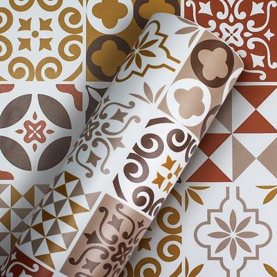Adesivo de azulejo português decorativo marrom  Larg. 1,22 m