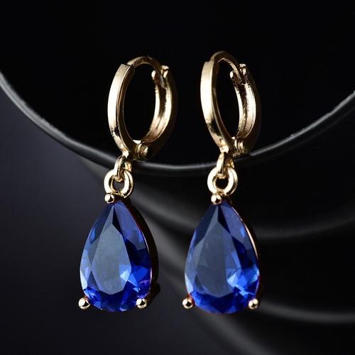 Brinco 18k Ouro Goldfile Zirconi Esmeralda Azul +cores C875 Original