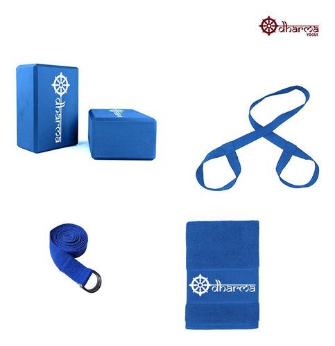 Kit Acessórios Props Yoga E Pilates Azul