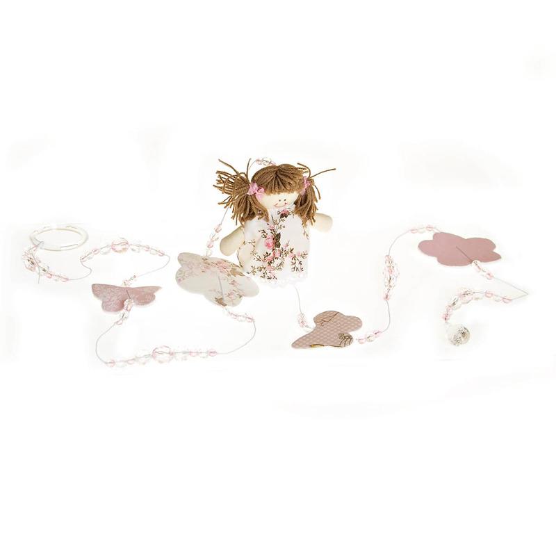 Pingente De Cortina Menina Rosa (Par)