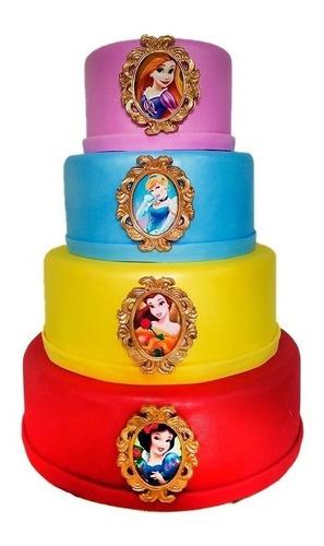 Bolo Fake  Princesas Luxo  Eva Com Biscuit 4 Andares Original
